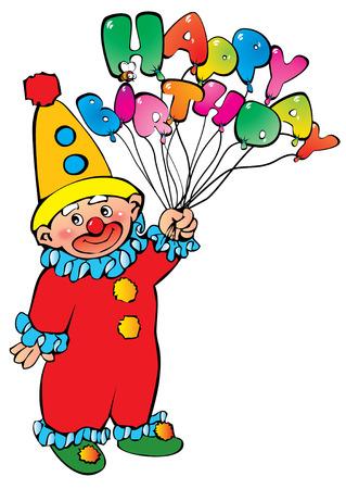 Funny clown. Happy Birthday. Vector