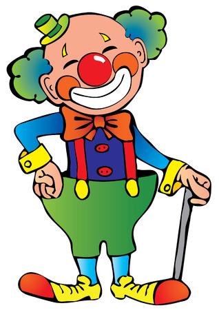 giullare: Divertente clown.  arte-illustrazione su uno sfondo bianco.
