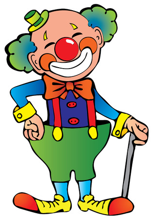 carnival costume: Funny clown.  art-illustration on a white background.