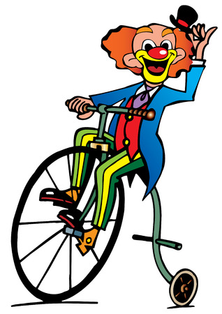 jester hat: Funny clown rides a bicycle.  art-illustration on a white background.