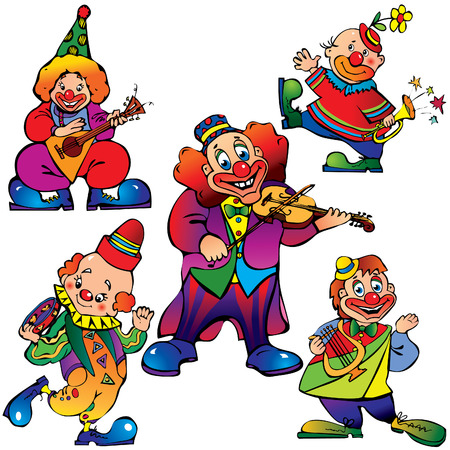 Funny clowns with musical instrument