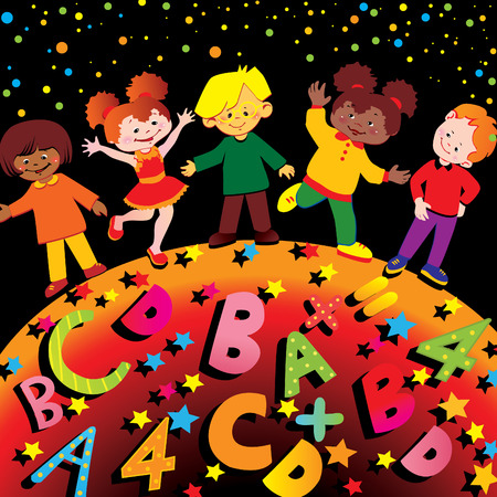 joy of life: School childhood.  art-illustration.