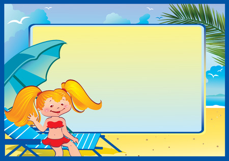 mew: In holiday at the sea. A happy girl on the beach.  Place for your text. Vector art-illustration. Illustration
