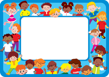 Kids frame. Place for your text. Happy childhood.  Vector