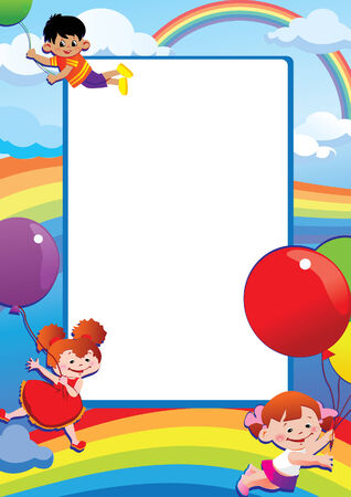 your text: Children flying on balloons. Place for your text. Happy childhood.  art-illustration.