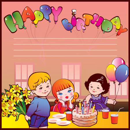 Happy birthday party. Good childhood. Place for your text.  art-illustration.