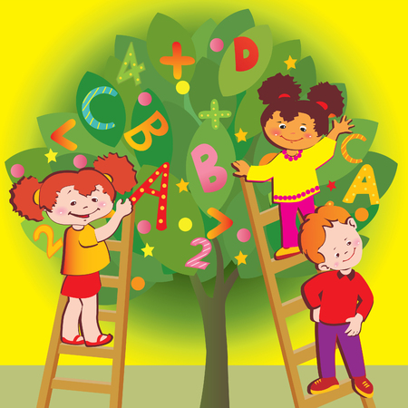 School childhood. Children with letters and numbers. art-illustration.