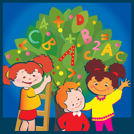 School childhood. Children with letters and numbers.  art-illustration. Vector