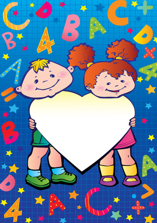 School childhood. Children with heart, letters and numbers. Place for your text. Vector art-illustration. Vector