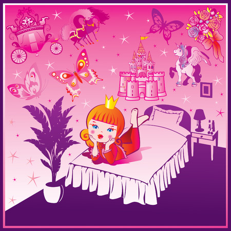 Dream Princess. Fairy-tale. Vector art-illustration. Illustration