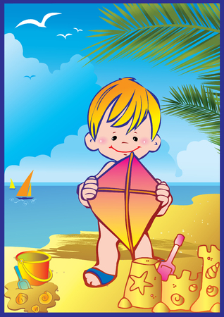 exoticism: In holiday at the sea. A happy boy on the beach. Vector art-illustration.