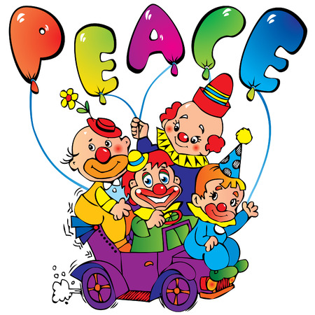 Funny clowns with the inscription peace Vector