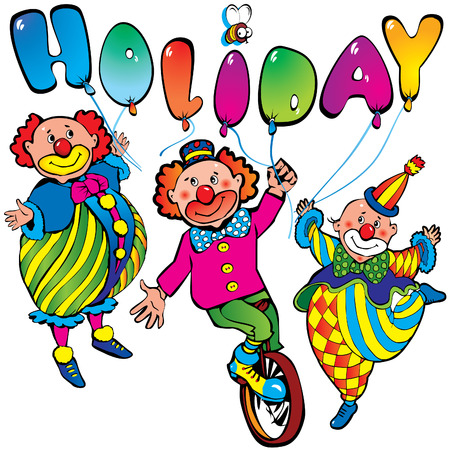 stage costume: Funny clowns with the inscription holiday Illustration