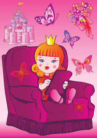 Princess sits on a chair. Fairy-tale. Vector art-illustration on a pink background. Vector