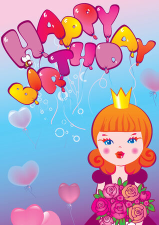 Princess with a bouquet of flowers. Happy birthday. Vector art-illustration. Иллюстрация