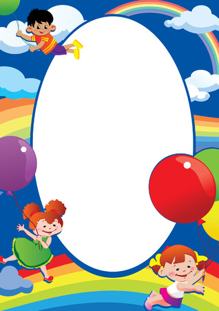 Children flying on balloons. Place for your text. Happy childhood. Vector art-illustration. Vector