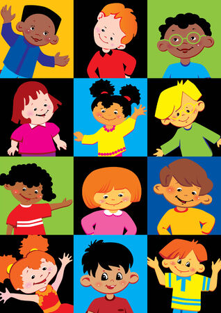 Portraits of the happy children of different nationalities. Vector art-illustration. Vector