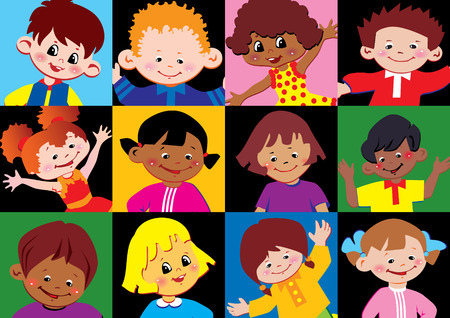 Portraits of the happy children of different nationalities. Vector art-illustration.