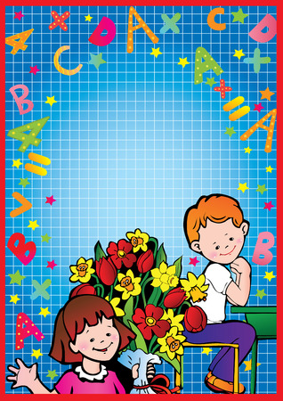 School childhood. Girl and boy with flowers in the school. Place for your text.  Vector