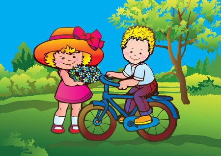 Girl with flowers and a boy on a bicycle walk in the park. Vector