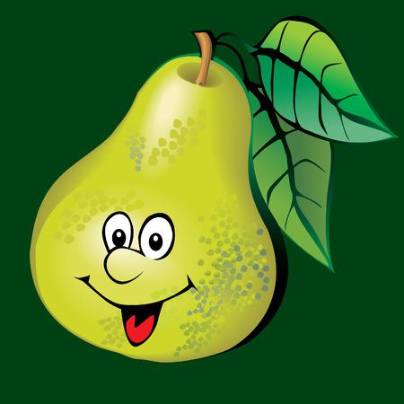 fruited: Lively pear. Art-illustration on a green background. Illustration