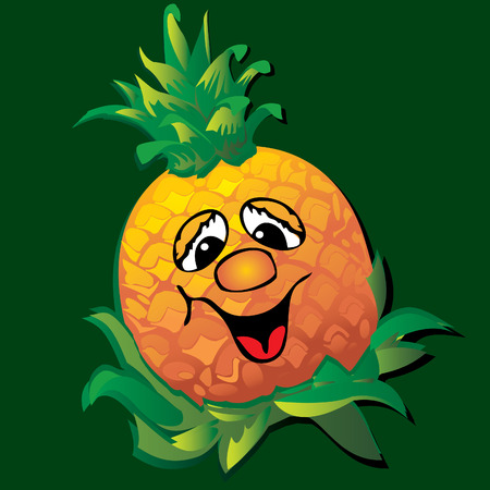 lively: Lively  pineapple.Art-illustration on a green background.