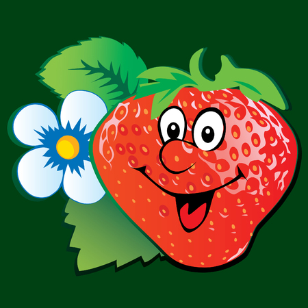 isolated objects: Lively strawberry. Illustration