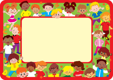 Kids frame. Place for your text. Happy childhood.  art-illustration. Vector