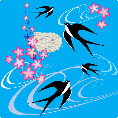 birds of paradise: Swallows flying to sky.  art-illustration. Illustration