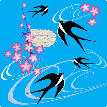 bird nest: Swallows flying to sky.  art-illustration. Illustration