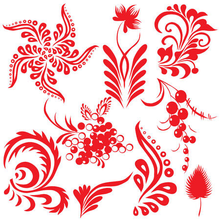 folk art: Floral collection. Vector art-illustration on a white background.