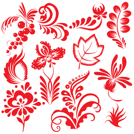 Floral collection. Vector art-illustration on a white background. Vector