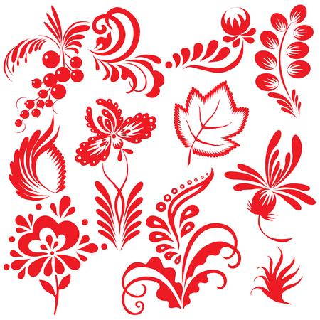 folk art: Floral collection. Vector art-illustration on a white background.