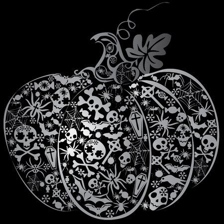 Halloween pumpkin. Vector art-illustration on a black background.