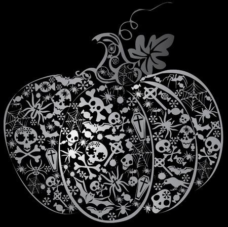 까마귀: Halloween pumpkin. Vector art-illustration on a black background.