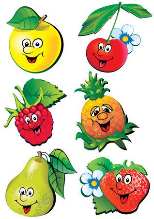 Frutas animado. Ilustración de arte vectorial en un fondo blanco.  Foto de archivo - 7869575