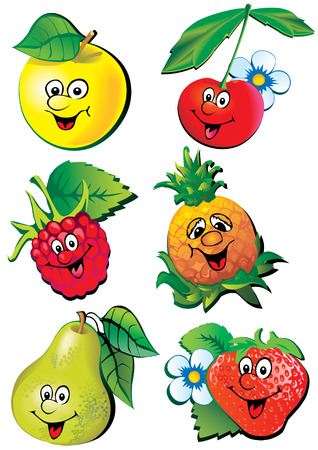 Lively fruits. Vector art-illustration on a white background.