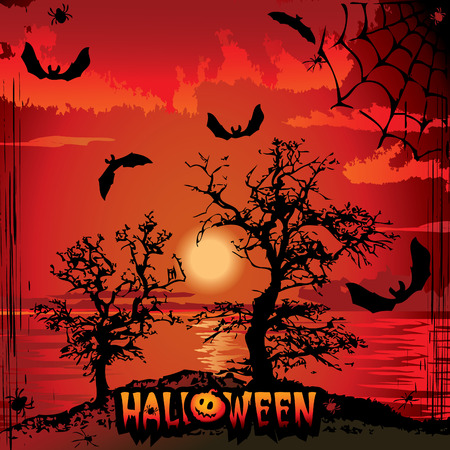 Halloween night. Vector art-illustration on a red background. Vector