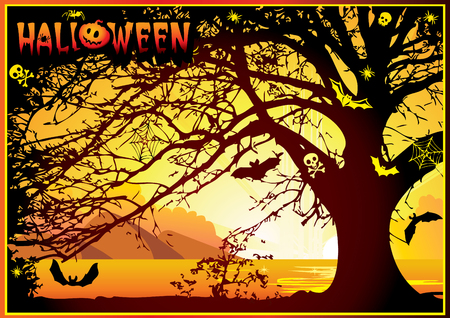 sinister: Sinister halloween tree. Vector art-illustration on a orange background. Illustration