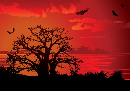 Sunset. Vector art-illustration on a red background. Vector