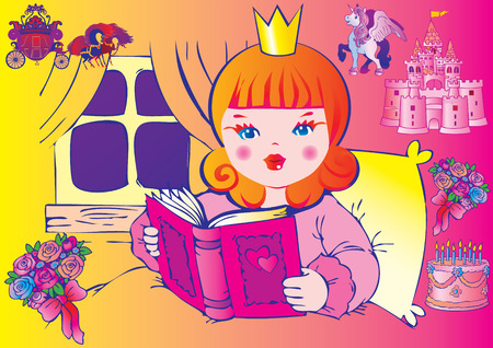 Princess reads and dreams. Fairy-tale. Vector art-illustration on a white background. Vector