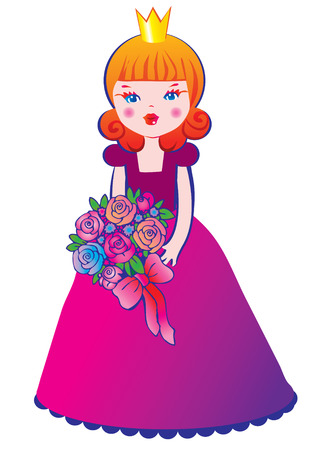 Beautiful princes with a bouquet of flowers. Vector art-illustration on a white background.