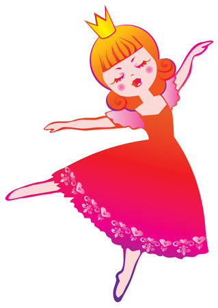 Little cute fairy ballerina. Vector art-illustration on a white background.