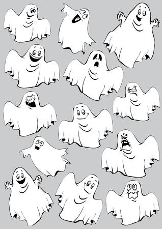 Ghosts. Halloween night. Vector art-illustration on a grey background. Stock Vector - 7869616