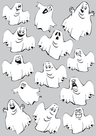 ghouls: Ghosts. Halloween night. Vector art-illustration on a grey background.