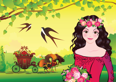 Beautiful princess on landscape background. Fairy-tale. Vector art-illustration. Vector