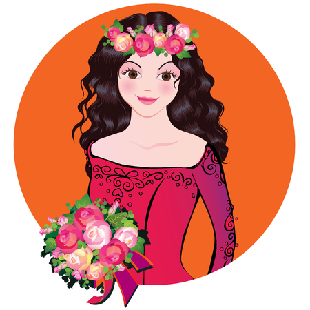 Beautiful girl with flowers. Vector art-illustration on a orange background. Vector