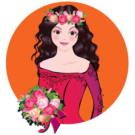 Mooi meisje met bloemen. Vector kunst-illustratie op een oranje achtergrond.