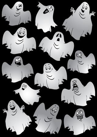 Ghosts. Halloween night. Vector art-illustration on a black background. Stock Vector - 7869614