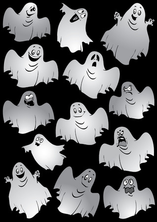 wraith: Ghosts. Halloween night. Vector art-illustration on a black background.